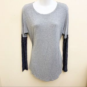 Heather Top Long Sleeve Lace Gray
